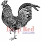 """Deep Red Stamp 2""""x2"""" - Rooster"""
