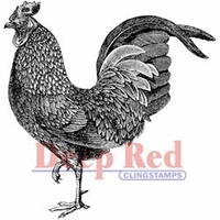 "Deep Red Stamp 2""x2"" - Rooster"