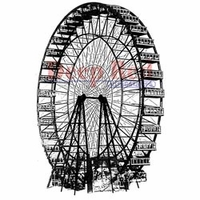 "Deep Red Stamp 2""x3"" - Ferris Wheel"