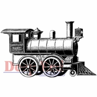 "Deep Red Stamp 3""x2"" - Locomotive"