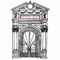 "Deep Red Stamp 3""x4.25"" - Palace Doorway"