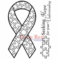 "Deep Red Stamp 3""x4"" - Autism Awareness Ribbon"