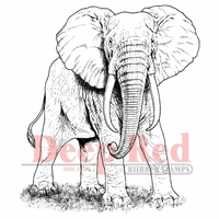 Deep Red Stamp - African Elephant