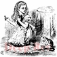 """Deep Red Stamp - Alice w/Kittens 2""""x2"""""""