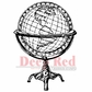 Deep Red Cling Stamp - Antique Globe