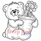 Deep Red Cling Stamp - Bear & Flower