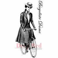 Deep Red Stamp - Bicyclist Lady