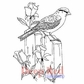 Deep Red Cling Stamp - Bird and Roses