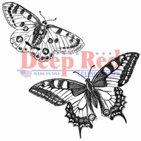 Deep Red Cling Stamp - Butterflies Pair