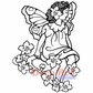 Deep Red Cling Stamp - Butterfly Flower Girl