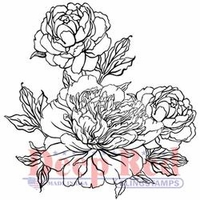 Deep Red Cling Stamp - Carnation Blooms