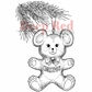 Deep Red Cling Stamp - Christmas Bear