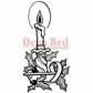 "Deep Red Cling Stamp - Christmas Candle 1.75""x3.25"""