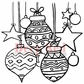 Deep Red Cling Stamp - Christmas Stars And Balls