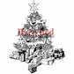 Deep Red Cling Stamp - Christmas Tree