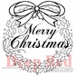 "Deep Red Cling Stamp - Christmas Wreath w/Sentiment 2""x2"""