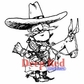Deep Red Cling Stamp - Cowboy