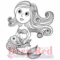 Deep Red Cling Stamp - Cute Little Mermaid