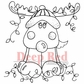 Deep Red Cling Stamp - Decorated Reindeer