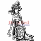 Deep Red Cling Stamp - Derby Victorian Girl