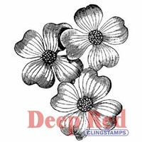Deep Red Stamp - Dogwood Flowers