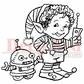 "Deep Red Cling Stamp - Elf Robot 2""x2"""