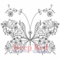 Deep Red Cling Stamp - Floral Butterfly