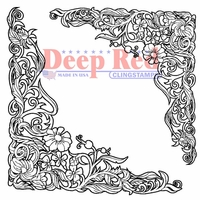 Deep Red Cling Stamp - Floral Corners