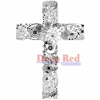 Deep Red Stamp - Floral Cross