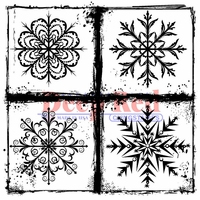 Deep Red Cling Stamp - Frosted Snowflakes