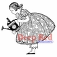 Deep Red Cling Stamp - Gardening Girl