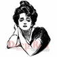 "Deep Red Cling Stamp - Gibson Girl Portrait 1.75""x2.1"""