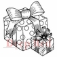 "Deep Red Stamp - Gift Boxes 2""x2"""