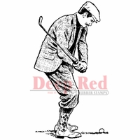 Deep Red Stamp - Golfer In Knickers