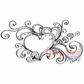 Deep Red Cling Stamp - Heart Flourish Splash