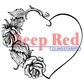 Deep Red Cling Stamp - Heart W/Roses