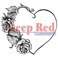 Deep Red Stamp - Heart w/Roses