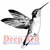 Deep Red Cling Stamp - Hummingbird