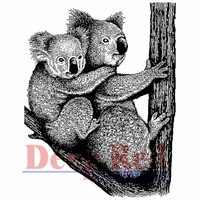 Deep Red Stamp - Koala w/Baby