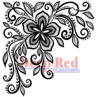 Deep Red Stamp - Lace Flower Corner