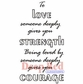Deep Red Cling Stamp - Love Strength Courage