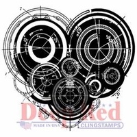 Deep Red Cling Stamp - Mechanical Heart