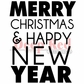 Deep Red Cling Stamp - Merry Christmas & Happy New Year