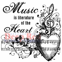 Deep Red Cling Stamp - Music Of The Heart