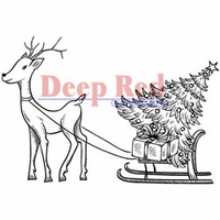 Deep Red Stamp - Reindeer w/Gifts