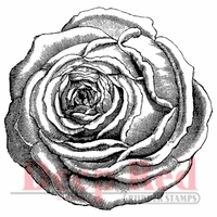 Deep Red Stamp - Rose Engraving