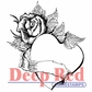 Deep Red Cling Stamp - Rose Heart Banner