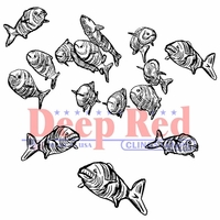 Deep Red Cling Stamp - School Of Fish