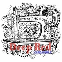 Deep Red Stamp - Sewing Machine Flourish