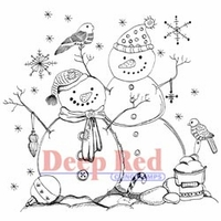 Deep Red Stamp - Snow Couple